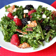 Berry and bacon kale salad